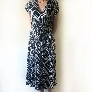 David Meister faux wrap waist, midi dress